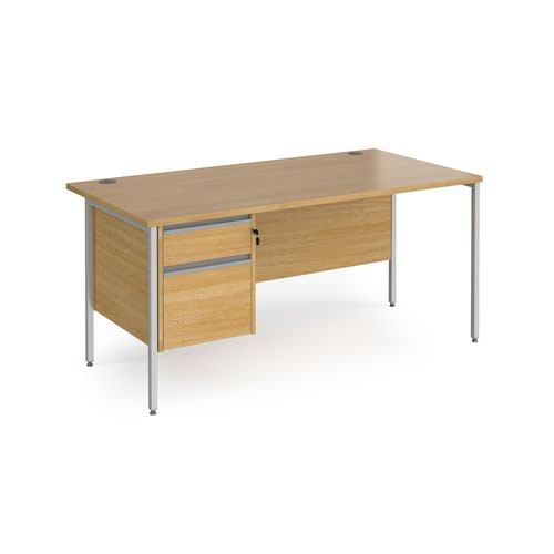 Contract 25 straight desk with 2 drawer pedestal and silver H-Frame leg 1600mm x 800mm - oak top