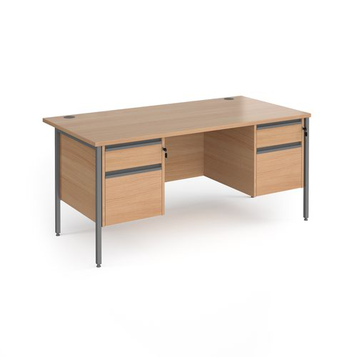 Contract 25 straight desk with 2 and 2 drawer pedestals and graphite H-Frame leg 1600mm x 800mm - beech top