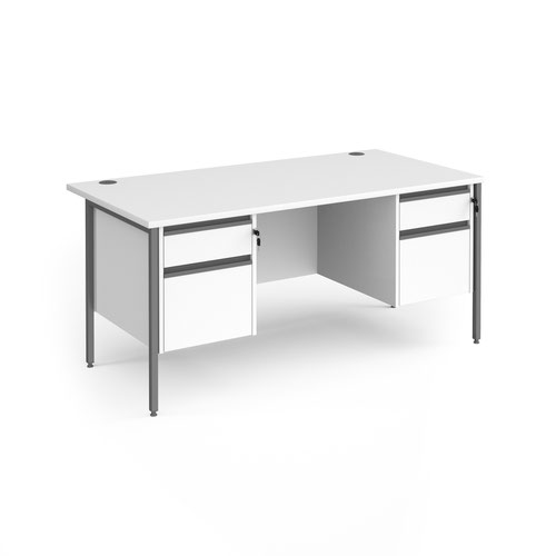 Contract 25 straight desk with 2 and 2 drawer pedestals and graphite H-Frame leg 1600mm x 800mm - white top