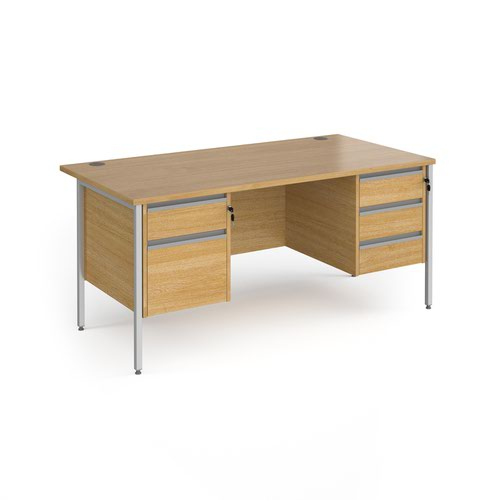 Contract 25 straight desk with 2 and 3 drawer pedestals and silver H-Frame leg 1600mm x 800mm - oak top