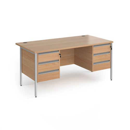 Contract 25 H-Frame straight desk with 3 and 3 drawer peds