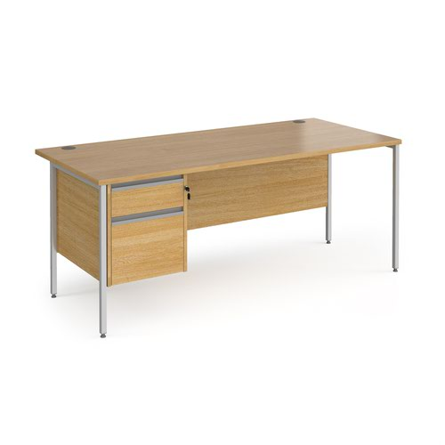 Contract 25 straight desk with 2 drawer pedestal and silver H-Frame leg 1800mm x 800mm - oak top