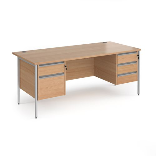 Contract 25 straight desk with 2 and 3 drawer pedestals and silver H-Frame leg 1800mm x 800mm - beech top