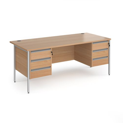 Contract 25 straight desk with 3 and 3 drawer pedestals and silver H-Frame leg 1800mm x 800mm - beech top