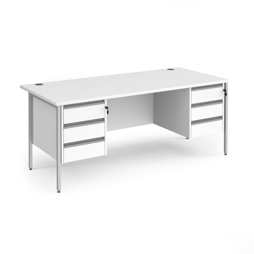 Contract 25 straight desk with 3 and 3 drawer pedestals and silver H-Frame leg 1800mm x 800mm - white top