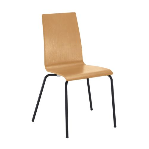 Fundamental dining chair in beech with black frame