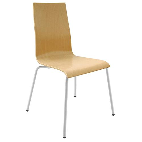 Fundamental dining chair in beech with white frame