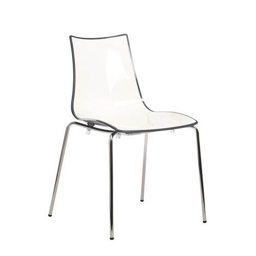 Gecko shell dining stacking chair with white legs - anthracite