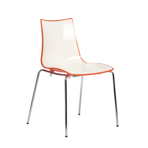 Gecko shell dining stacking chair with white legs - orange