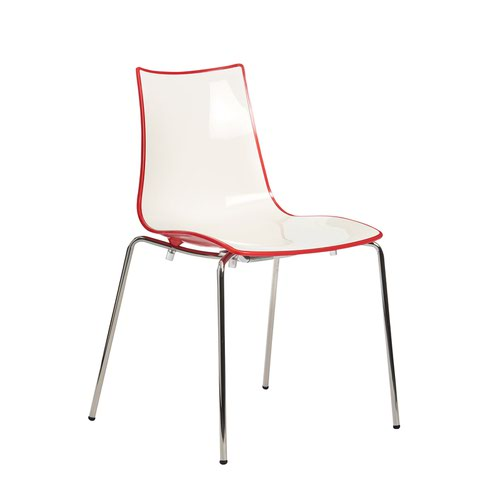 Gecko shell dining stacking chair with chrome legs - red