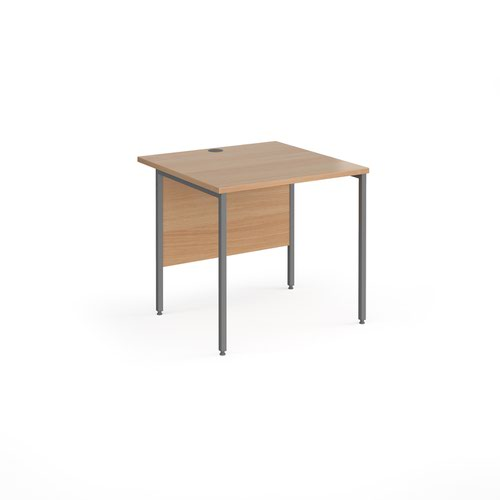 Contract 25 straight desk with graphite H-Frame leg 800mm x 800mm - beech top