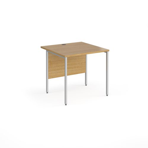 Contract 25 straight desk with silver H-Frame leg 800mm x 800mm - oak top