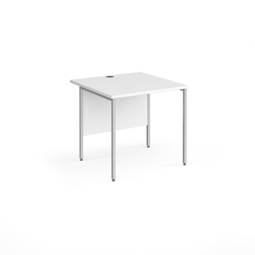 Contract 25 straight desk with silver H-Frame leg 800mm x 800mm - white top