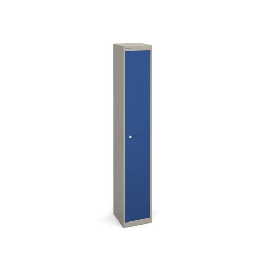 Bisley lockers with 1 door 305mm deep - grey with blue doors