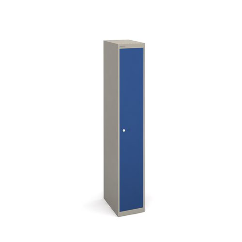 Bisley lockers with 1 door 457mm deep - grey with blue doors