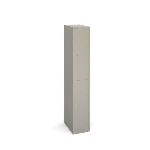 Bisley lockers with 2 doors 457mm deep - grey