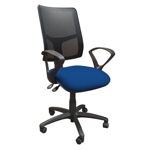 Clifton mesh back operators chair with fixed arms - blue