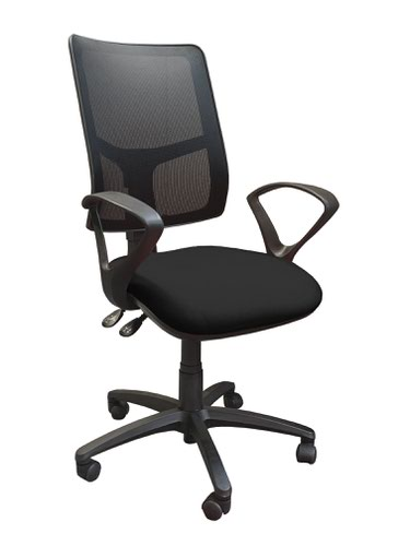Clifton mesh back operators chair with fixed arms - black