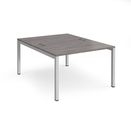 Connex starter units back to back 1200mm x 1600mm - silver frame and grey oak top