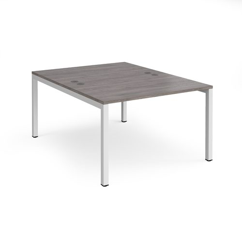 Connex starter units back to back 1200mm x 1600mm - white frame and grey oak top