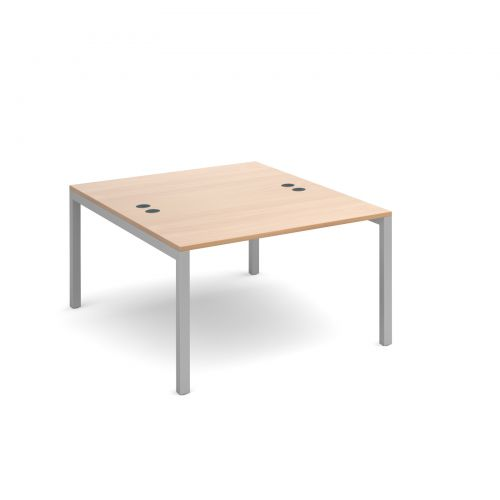 Connex back to back desks 1200mm x 1600mm - silver frame and beech top