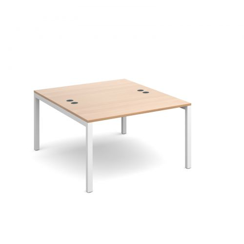 Connex back to back desks 1200mm x 1600mm - white frame and beech top