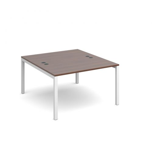 Connex back to back desks 1200mm x 1600mm - white frame and walnut top