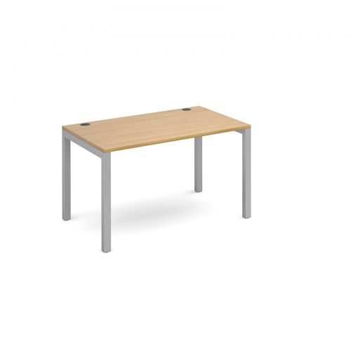 Connex single desk 1200mm x 800mm - silver frame and oak top