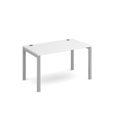 Connex single desk 1200mm x 800mm - silver frame and white top