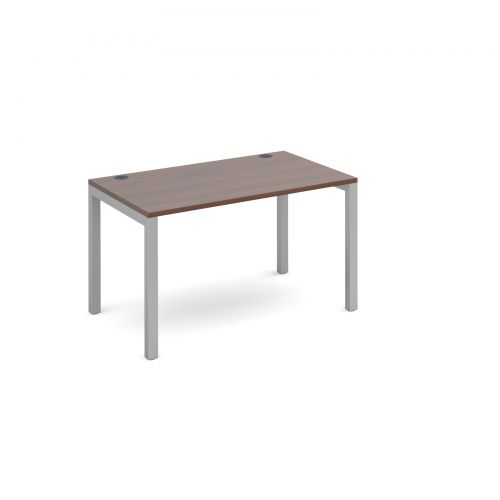 Connex starter unit single 1200mm x 800mm - silver frame and walnut top