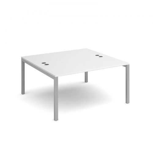 Connex back to back desks 1400mm x 1600mm - silver frame and white top