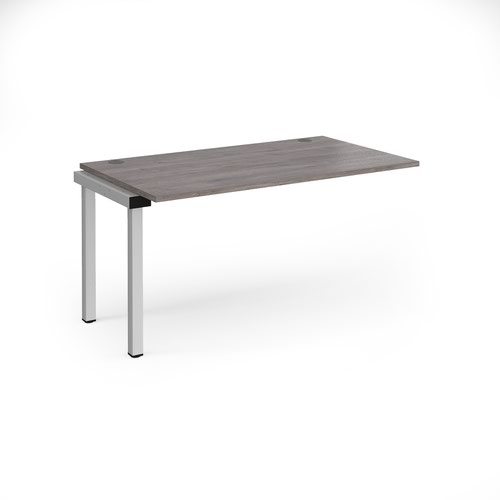 Connex add on unit single 1400mm x 800mm - silver frame and grey oak top