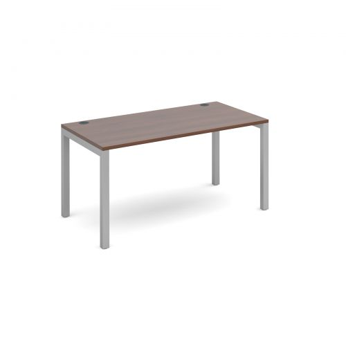 Connex starter unit single 1400mm x 800mm - silver frame and walnut top