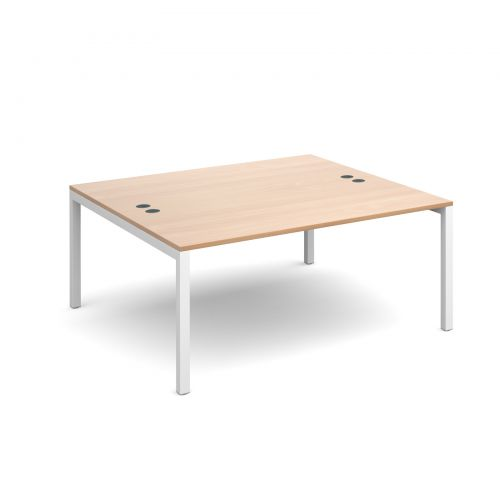Connex back to back desks 1600mm x 1600mm - white frame and beech top
