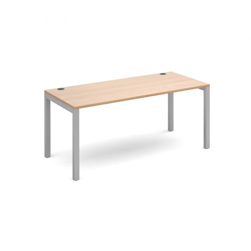 Connex single desk 1600mm x 800mm - silver frame and beech top