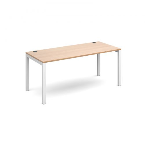 Connex starter unit single 1600mm x 800mm - white frame and beech top