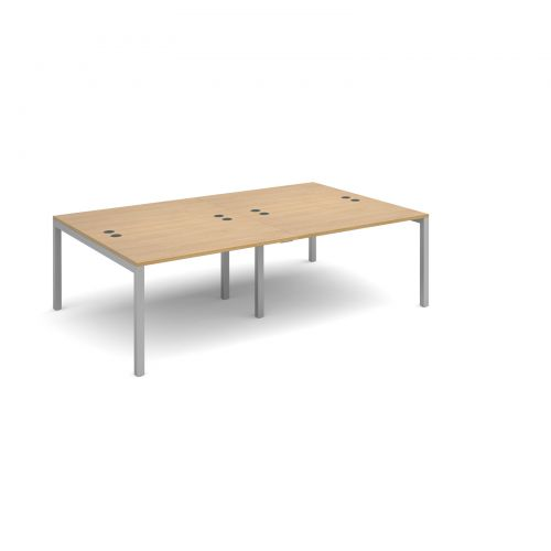 Connex double back to back desks 2400mm x 1600mm - silver frame and oak top