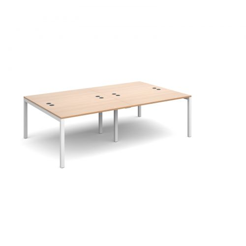 Connex double back to back desks 2400mm x 1600mm - white frame and beech top
