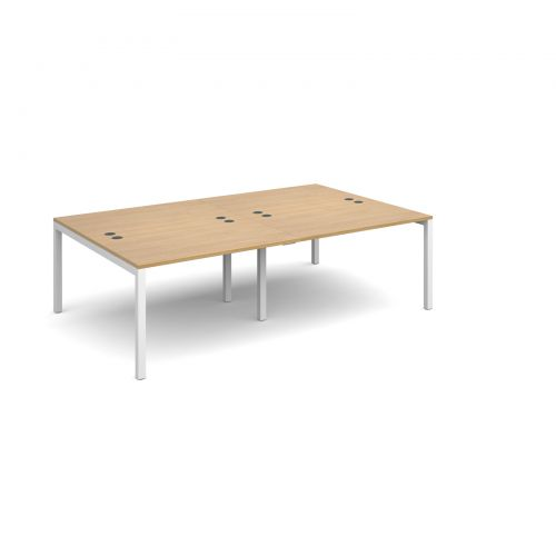Connex double back to back desks 2400mm x 1600mm - white frame and oak top