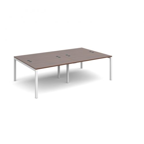 Connex double back to back desks 2400mm x 1600mm - white frame and walnut top