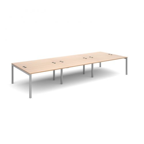 Connex triple back to back desks 4200mm x 1600mm - silver frame and beech top