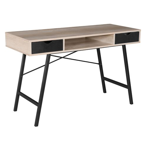Coba home office workstation with pull out drawers – Country oak with black frame by Dams International, DES2985
