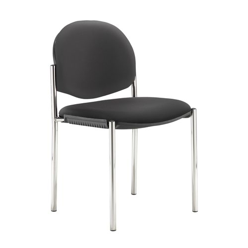 Coda multi purpose stackable conference chair with no arms - Nero Black vinyl