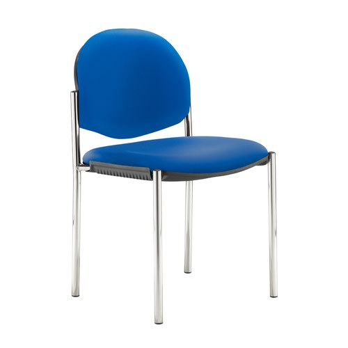 Coda multi purpose stackable conference chair with no arms - Ocean Blue vinyl