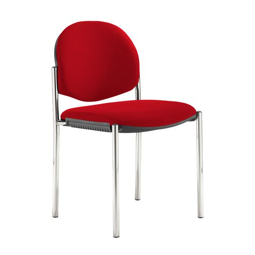 Coda multi purpose stackable conference chair with no arms - Panama Red