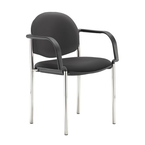 Coda multi purpose stackable conference chair with fixed arms - Nero Black vinyl
