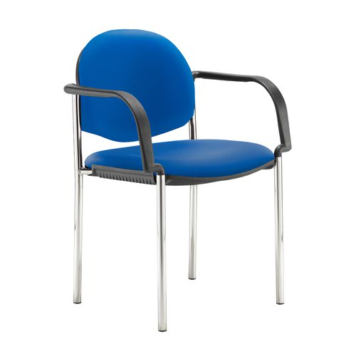 Coda multi purpose stackable conference chair with fixed arms - Ocean Blue vinyl