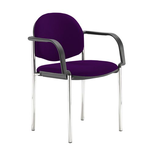 Coda multi purpose stackable conference chair with fixed arms - Tarot Purple