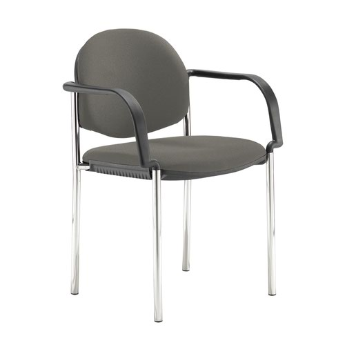 Coda multi purpose stackable conference chair with fixed arms - Slip Grey