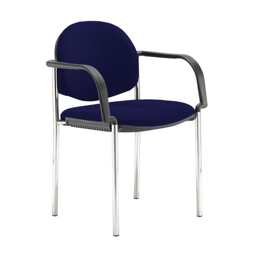 Coda multi purpose stackable conference chair with fixed arms - Ocean Blue